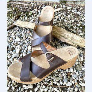 Dansko Brown Leather Sela Slide Sandals 42